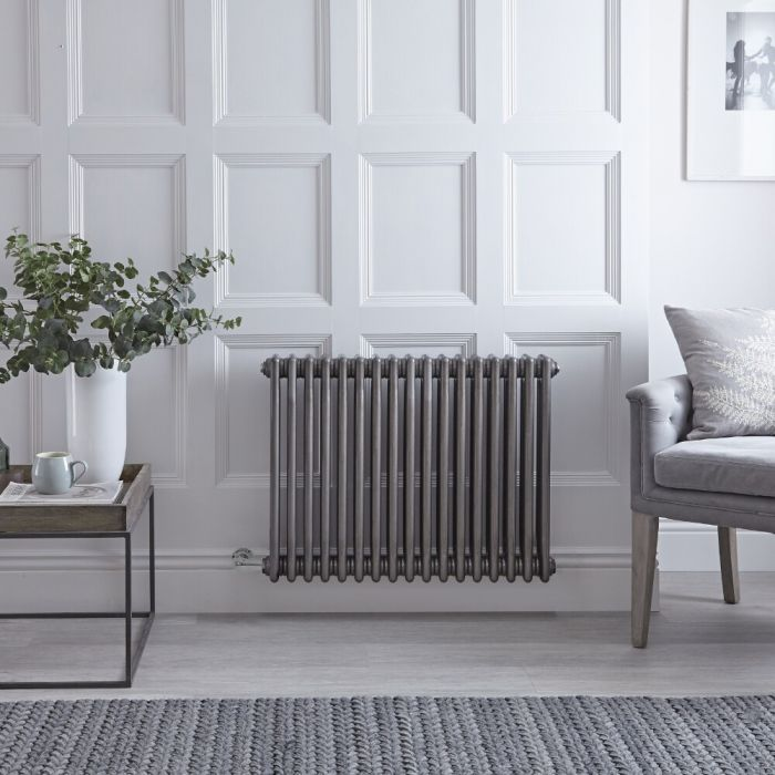 """Regent Electric - Raw Metal Lacquered Horizontal 3-Column Traditional Cast-Iron Style Radiator - 23.5"""" x 31"""""""
