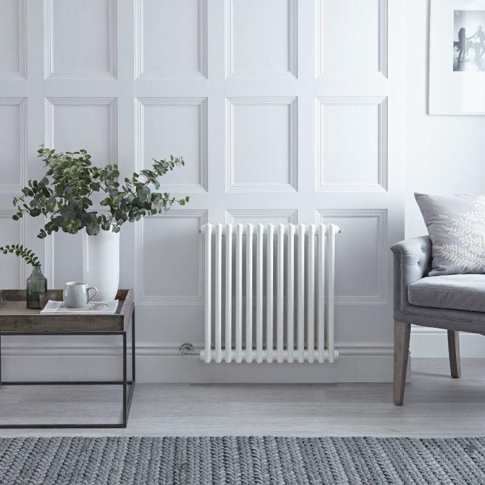 "Regent Electric - White Horizontal 2-Column Traditional Cast-Iron Style Radiator - 23.5"" x 24"""