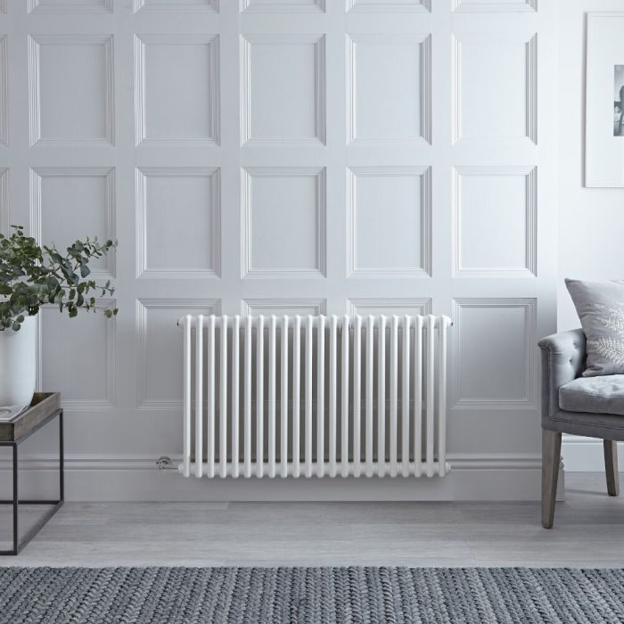 "Regent Electric - White Horizontal 2-Column Traditional Cast-Iron Style Radiator - 23.5"" x 40"""