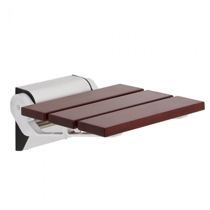 Sapele Wood Folding Shower Seat with Narrow Bracket