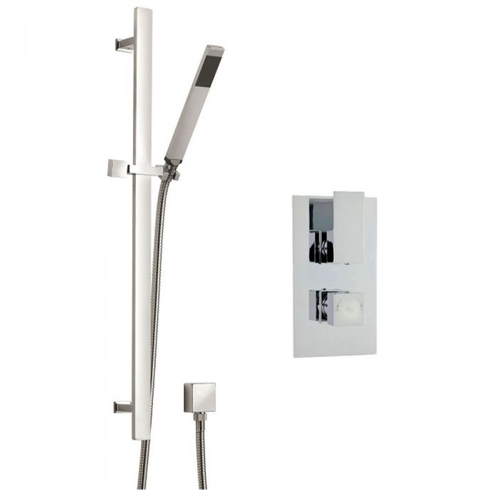 Art Concealed Thermostatic Twin Shower Faucet Valve with Sheer Slide Rail Kit