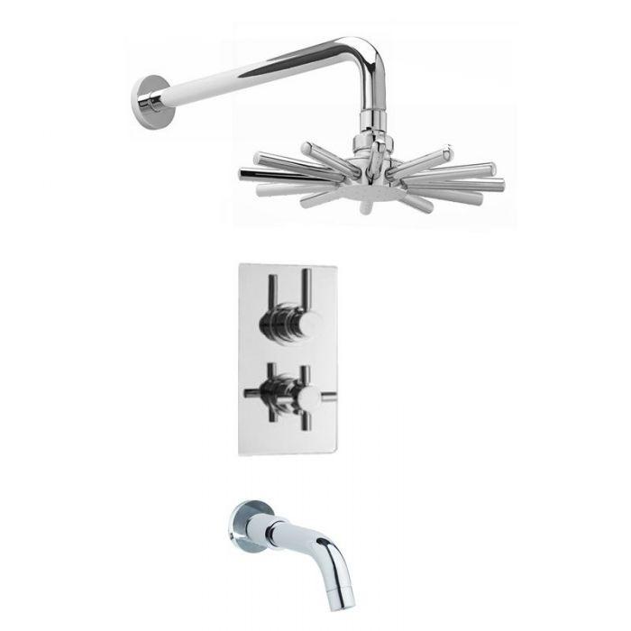 """2-Outlet Shower System with 8"""" Cloudburst Head, Tub Spout & Diverter Valve"""