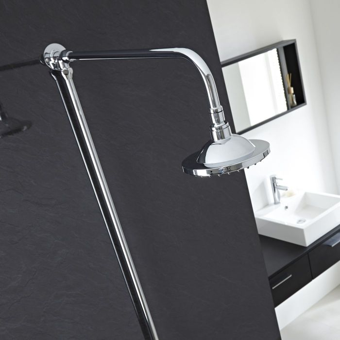 """Chrome Traditional High Quality Rigid Riser Shower Kit with 6"""" Overhead Shower"""