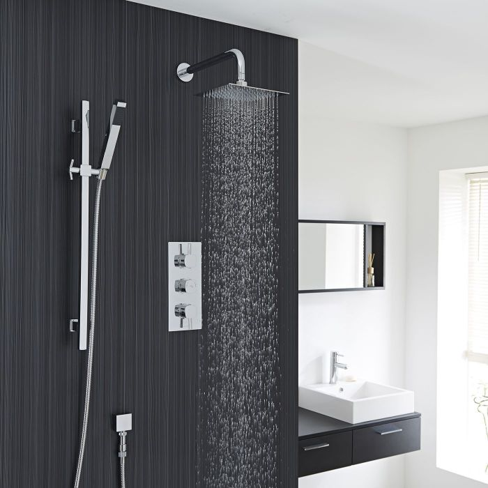"""Chrome Square Slide Rail Kit With Thermostatic Triple Shower Valve and 8"""" Shower Head"""