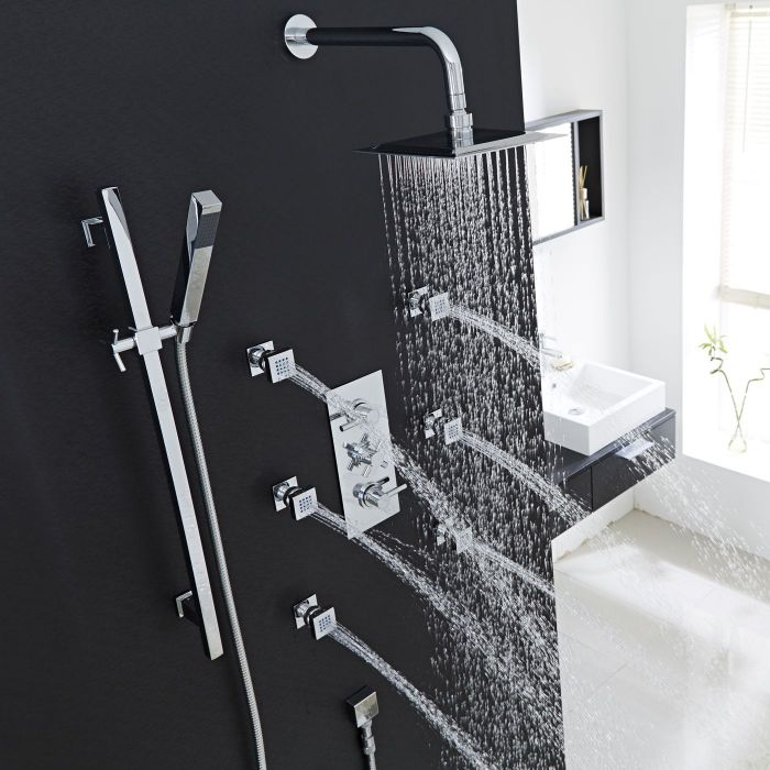Thermostatic Shower System with Curved Arm, Slide Rail Kit & 6 Body Jets