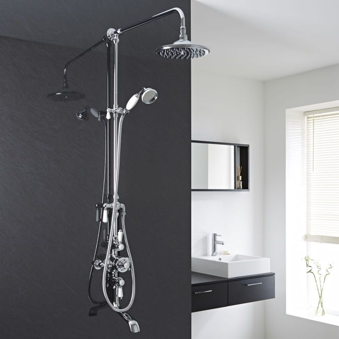 Traditional Thermostatic Shower System with Grand Riser & Tub Spout