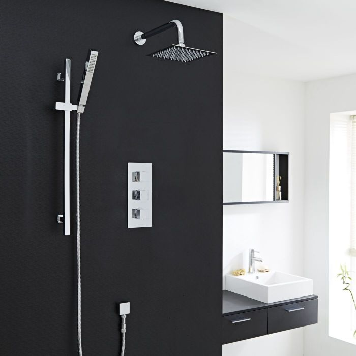 "Valquest Thermostatic Shower System with Slider Rail Kit, Wall Arm & 8""Head"