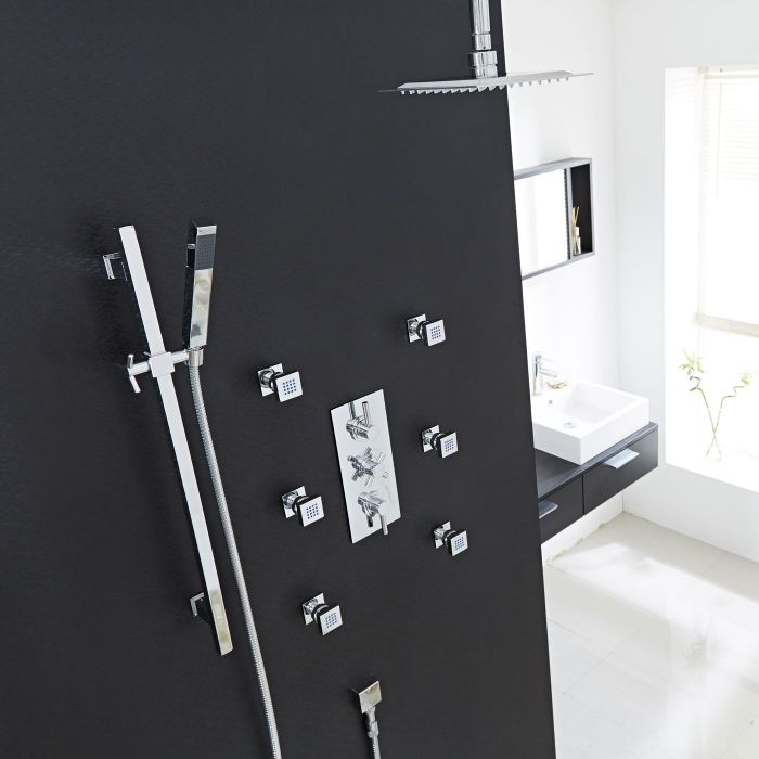 Thermostatic Shower System with Ceiling Arm, Slide Rail Kit & Body Jets