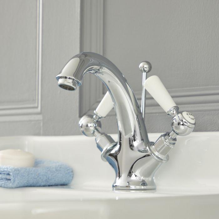 Elizabeth - Traditional Single-Hole Bathroom Mixer Faucet  - Chrome/White