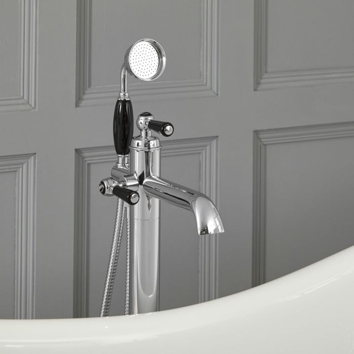 Elizabeth - Traditional Freestanding Tub Faucet with Hand Shower - Chrome/Black