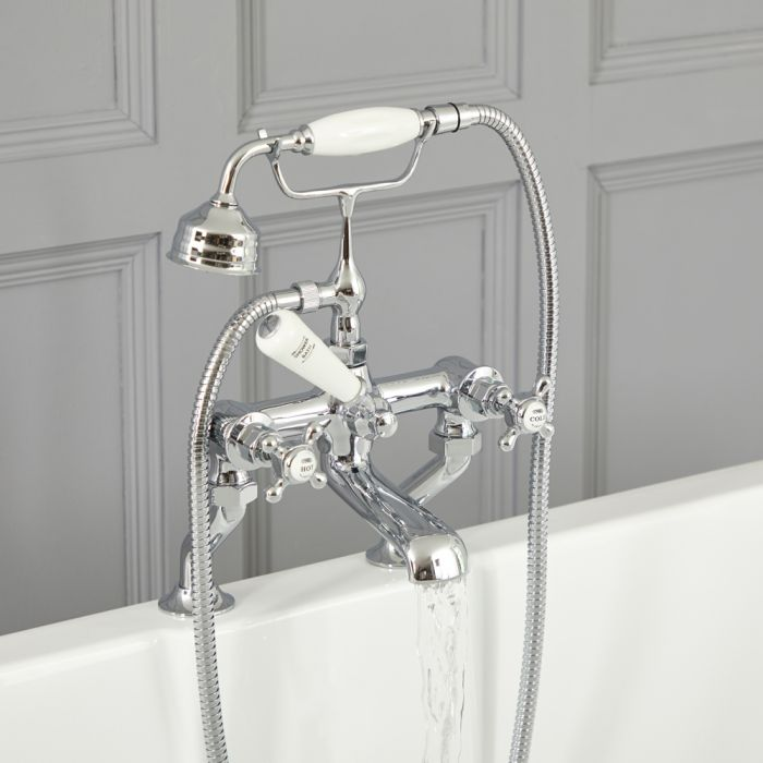 Elizabeth - Traditional Deck Mounted Cross Handle Tub Faucet with Telephone Style Hand Shower - Chrome/White