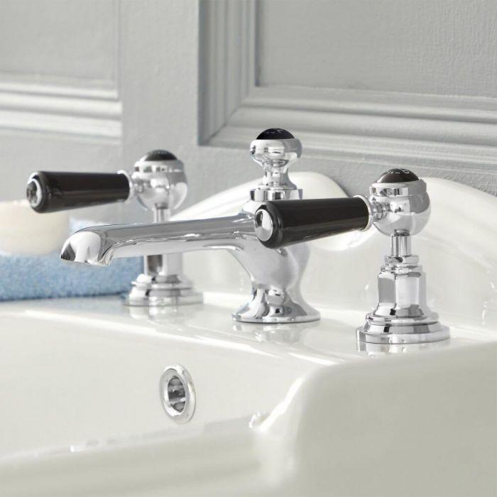 Elizabeth - Traditional Widespread Bathroom Faucet - Chrome/Black