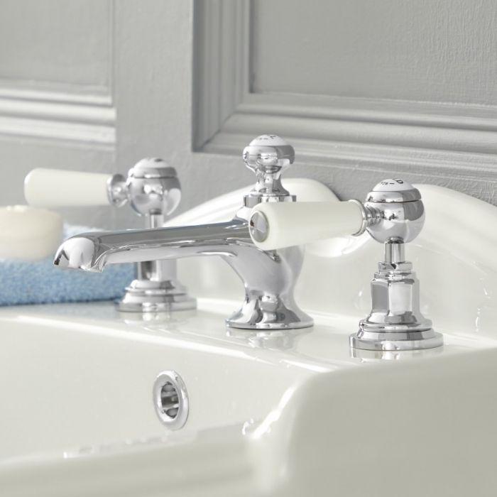 Elizabeth - Traditional Widespread Bathroom Faucet - Chrome/White
