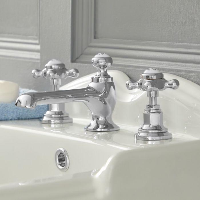 Elizabeth - Traditional Widespread Cross Handle Bathroom Faucet - Chrome/White