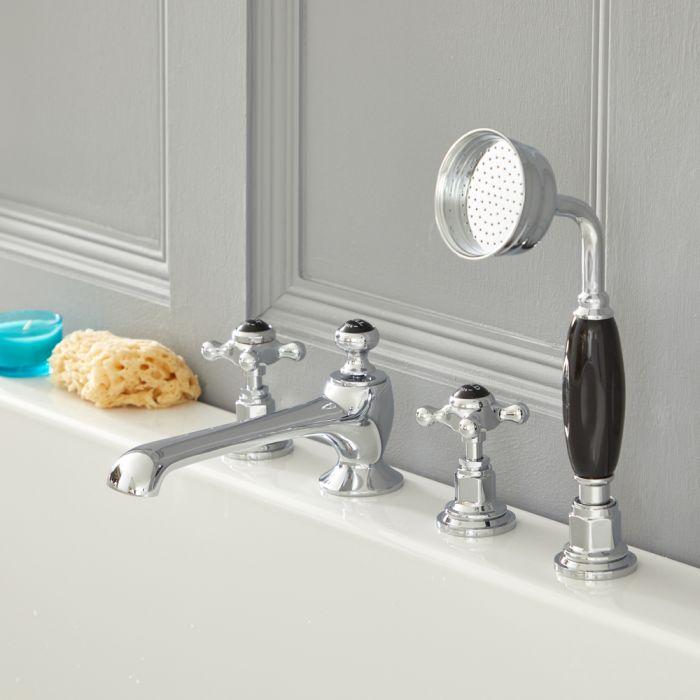 Elizabeth - Traditional Cross Handle Roman Tub Faucet - Chrome/Black