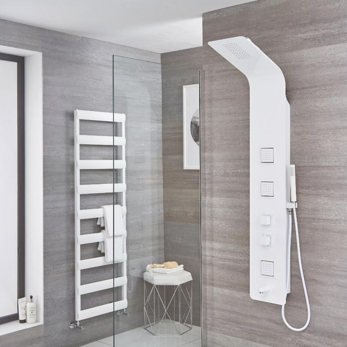 Upton - White Aluminum Thermostatic Shower Panel with Tub Spout