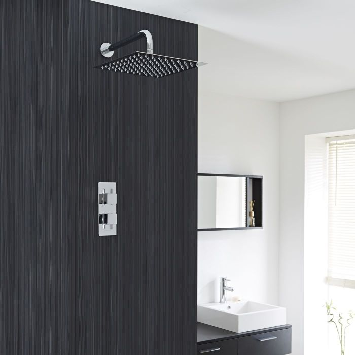 "Square Thermostatic 1 Outlet Shower System with 12"" Head with Wall Arm"