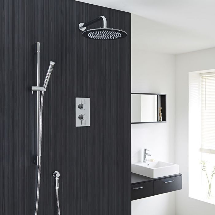 "Quest Thermostatic 2 Outlet Shower System with 12"" Head & Handshower"