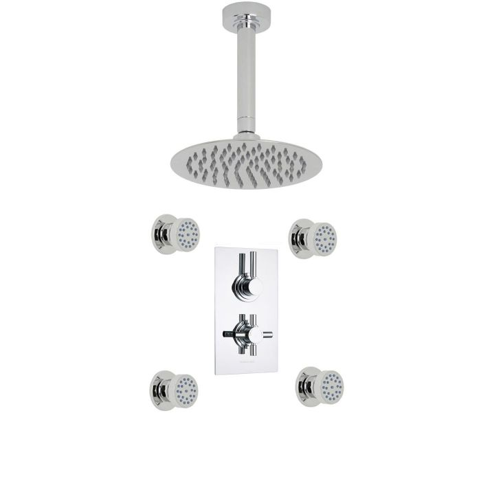 "Tec Thermostatic 2 Outlet Shower System with 8"" Ceiling Head & 4 Round Jet Sprays"