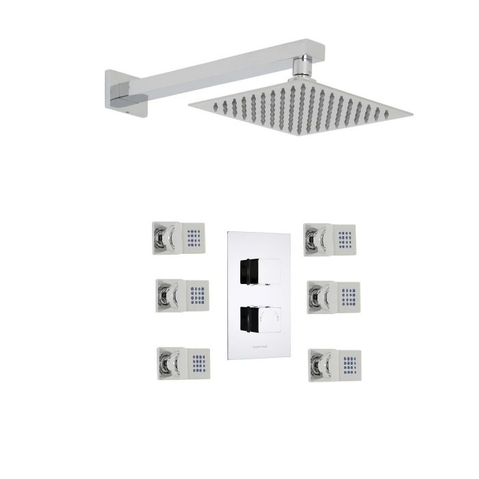 "Kubix Thermostatic 2 Outlet Shower System with 8"" Square Head & 6 Square Jet Sprays"