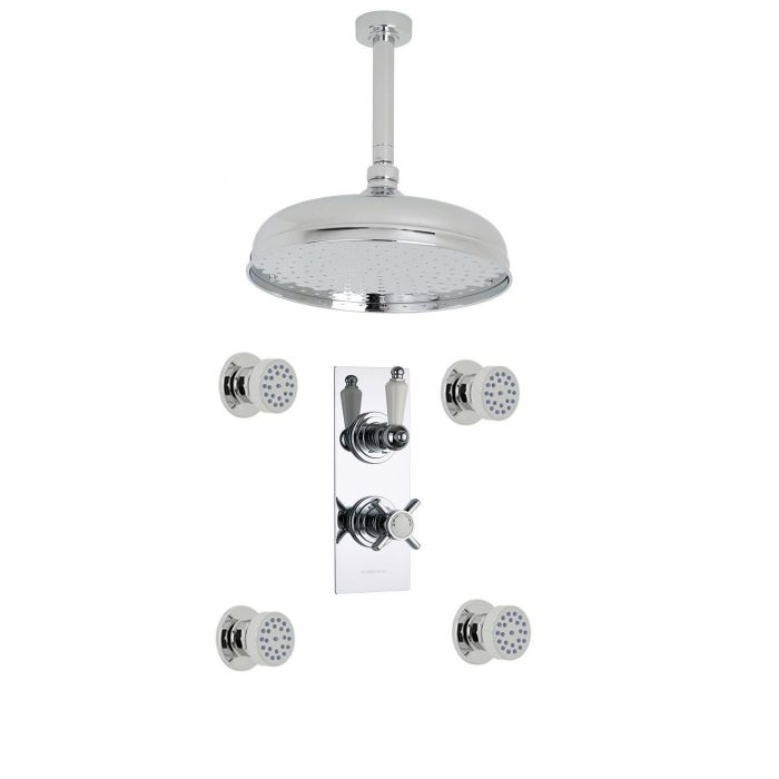 "Beaumont Thermostatic 2 Outlet Shower System with 12"" Ceiling Apron & 4 Round Jet Sprays"