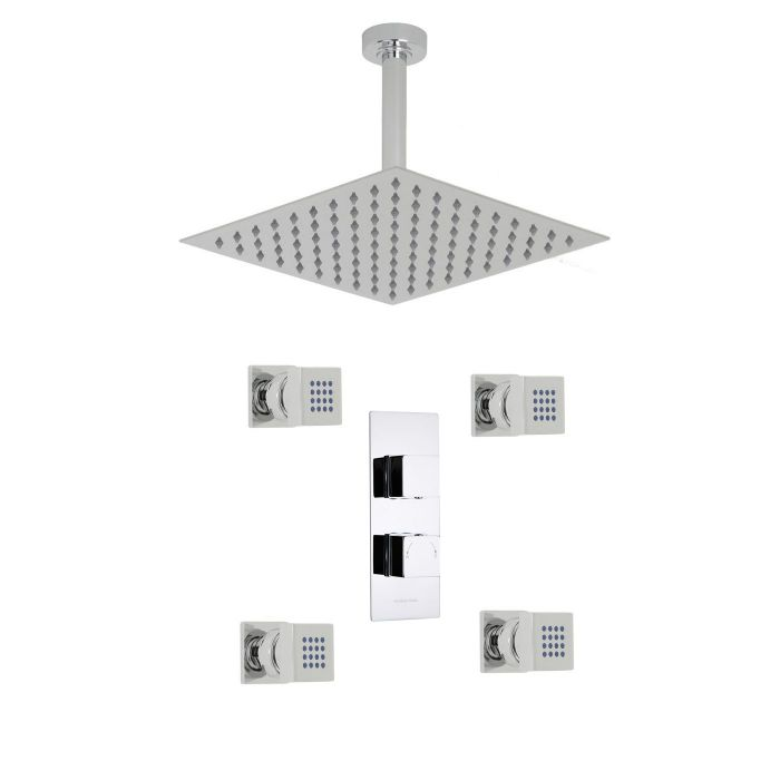 """Kubix Thermostatic 2 Outlet Shower System with 12"""" Square Ceiling Head & 4 Square Jet Sprays"""