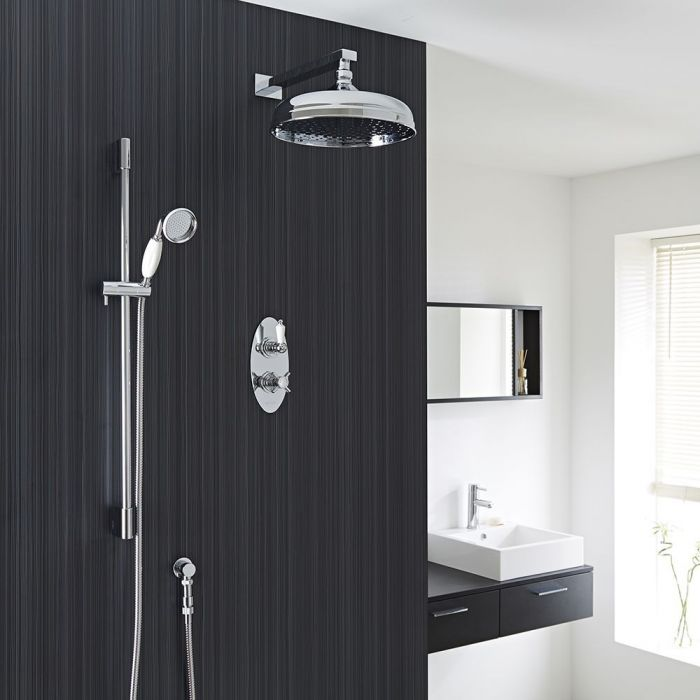 """Beaumont Thermostatic 2 Outlet Shower System with 12"""" Apron with Wall Arm & Handset"""