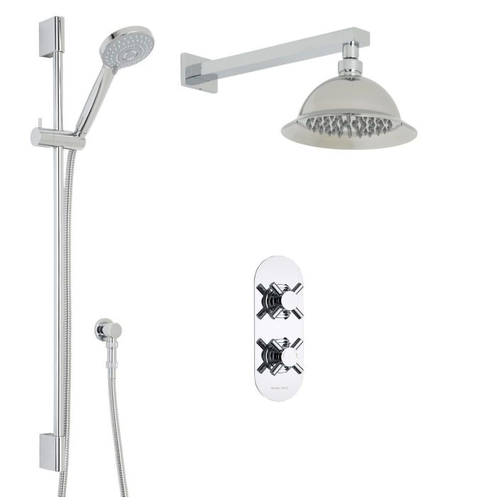 "Kristal Thermostatic 2 Outlet Shower System with 8"" Round Rose & Arm & Multi-function Handset"