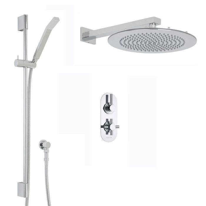 """Tec Thermostatic 2 Outlet Shower System with 12"""" Round Head & Arm & Brass Handset"""