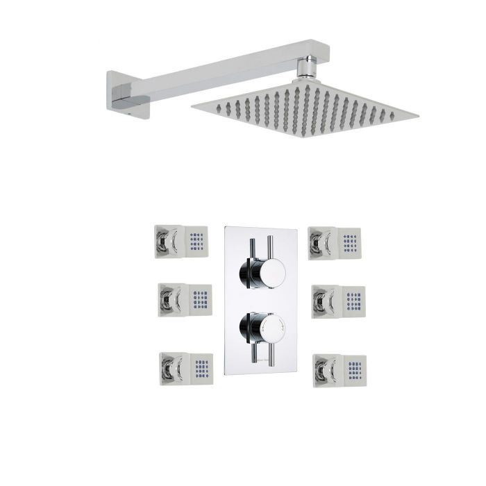 "Quest Thermostatic 2 Outlet Shower System with 8"" Square Head & Arm & 6 Square Jet Sprays"