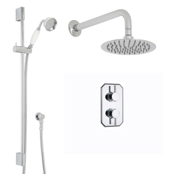 """Quest Thermostatic 2 Outlet Shower System with 8"""" Round Head & Wall Arm & Handset"""