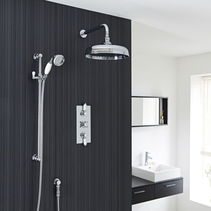 """Valquest Traditional Thermostatic 2 Outlet Shower System with 12"""" Apron Head & Handshower"""