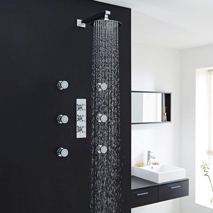 "Kristal Thermostatic Shower System with 8"" Head & 6 Round Jet Sprays"