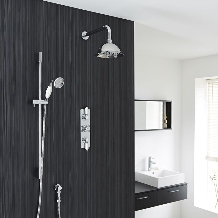 """Traditional Thermostatic Shower System with 8"""" Rose & Handshower"""