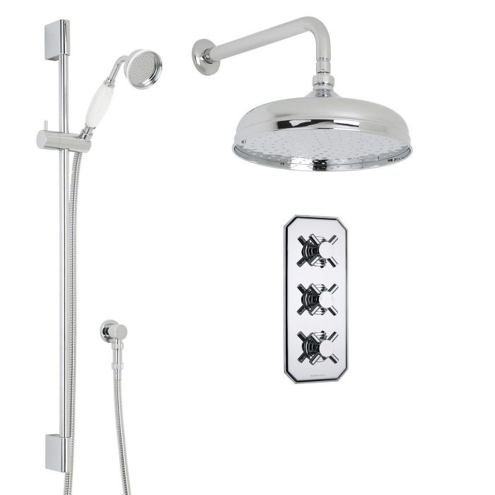 """Kristal Thermostatic Shower System with 12"""" Round Head & Wall Arm & Handset"""