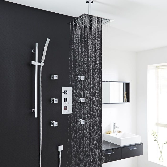 Square Thermostatic Shower System with 12