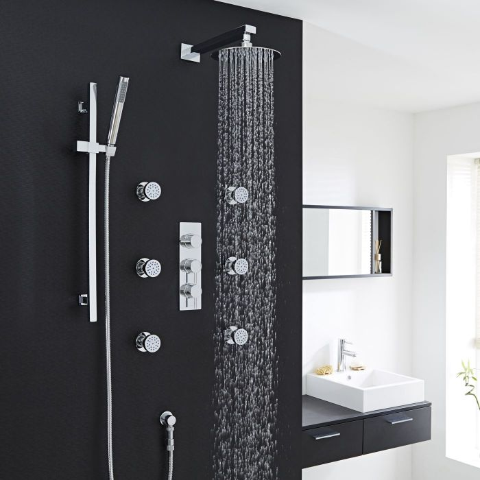 """Quest Thermostatic Shower System with 8"""" Head, Handshower & 6 Sheer Jet Sprays"""