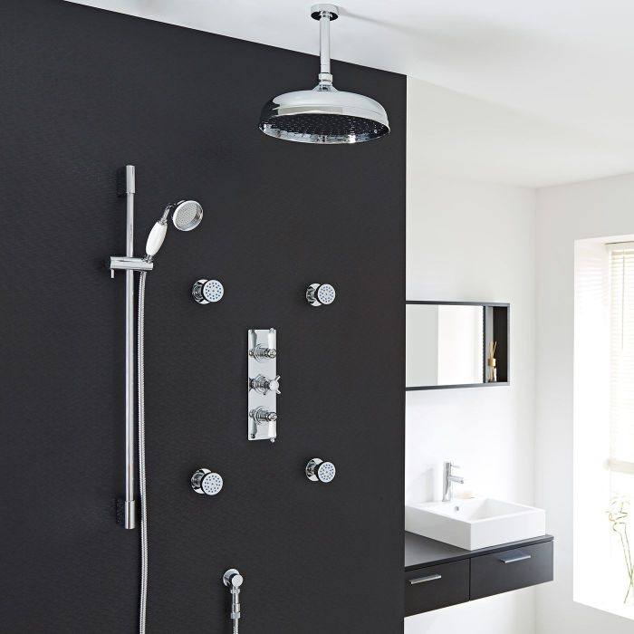 """Beaumont Thermostatic Shower System with 12"""" Ceiling Apron , Handshower & 4 Round Jet Sprays"""