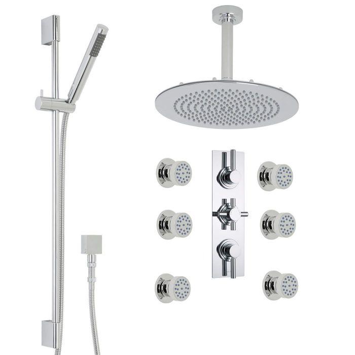 "Tec Thermostatic Shower System with 12"" Round Ceiling Head , Handshower & 6 Round Jet Sprays"