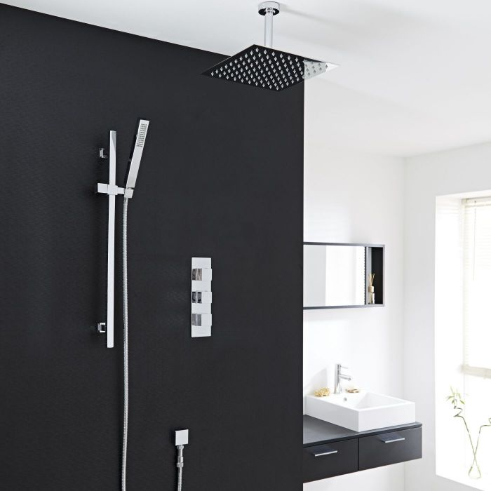 "Valquest Thermostatic Shower System with 8"" Square Ceiling Head & Handshower"