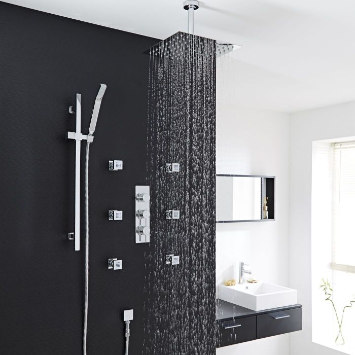 """Quest Thermostatic Shower System with 12"""" Square Head & Ceiling Arm , Handset & 6 Square Body Sprays"""