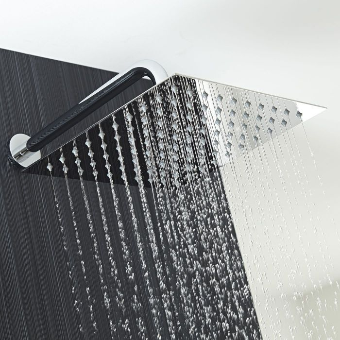 """12"""" Square Shower Head with Wall Arm"""