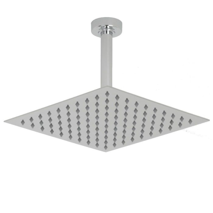 """Valquest 12"""" Square Thin Shower Head with Round Ceiling Arm"""