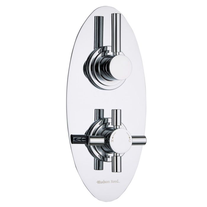 Tec Concealed 2 Outlet Twin with Diverter Thermostatic Shower Valve (Oval Plate)