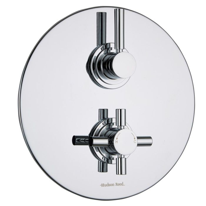 Tec Concealed 1 Outlet Twin Thermostatic Shower Valve (Round Plate)