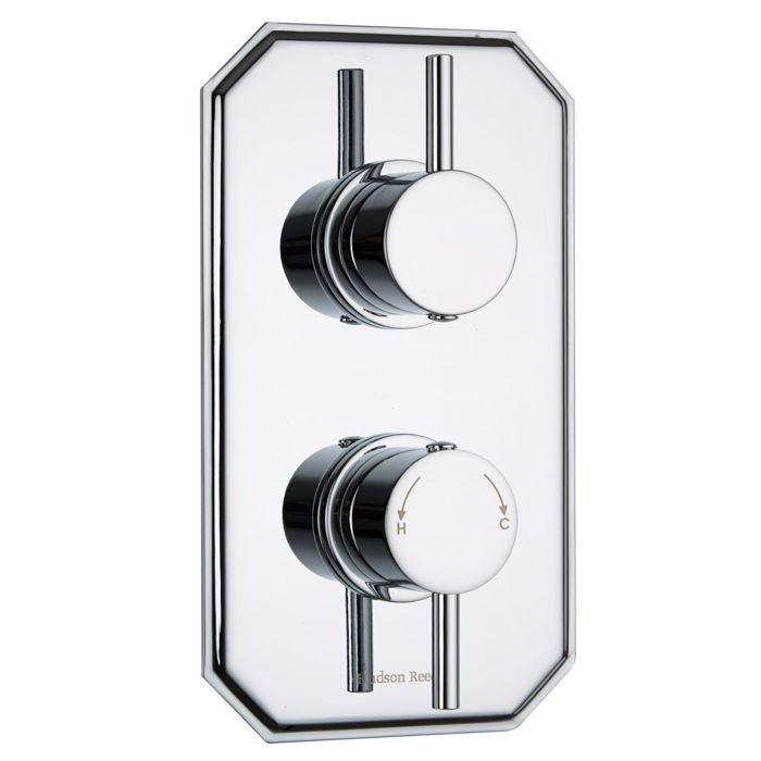 Quest Concealed 1 Outlet Twin Thermostatic Shower Valve (Traditional Plate)