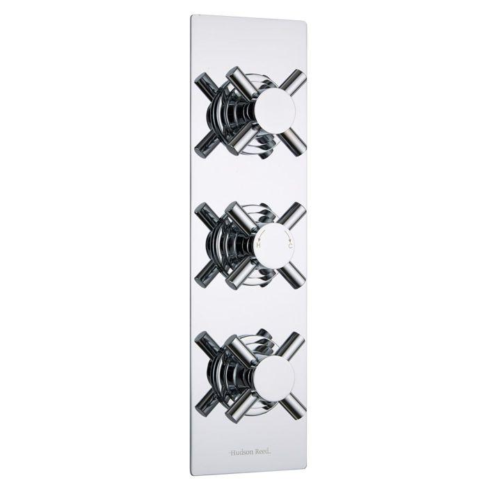 Kristal Concealed 3 Outlet Triple with Diverter Thermostatic Shower Valve (Slim Plate)