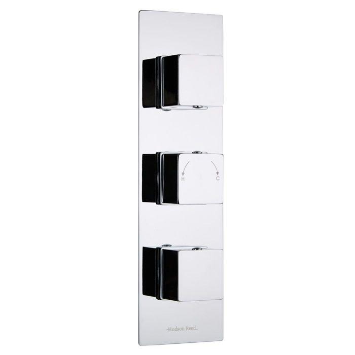 Kubix Concealed 2 Outlet Triple Thermostatic Shower Valve (Slim Plate)