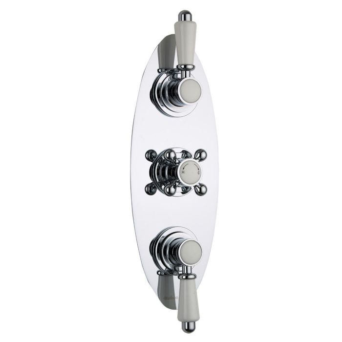 Traditional Concealed 2 Outlet Triple Thermostatic Shower Valve (Oval Plate)