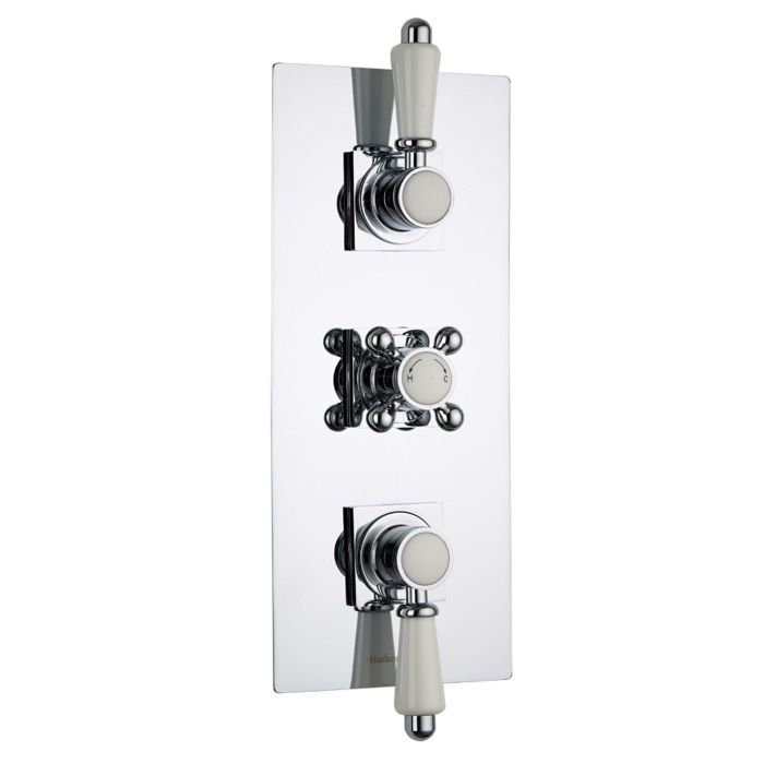 Traditional Concealed 2 Outlet Triple Thermostatic Shower Valve (Square Flange)